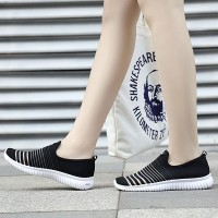 Striped Texture Slip Over Running Sports Sneakers  - Black