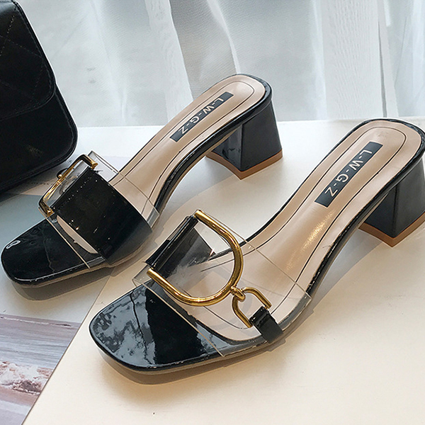 Buckle Transparent Rubber Heel Party Sandals - Black