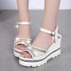 Diamond Decorated Thick Bottom White Sandals