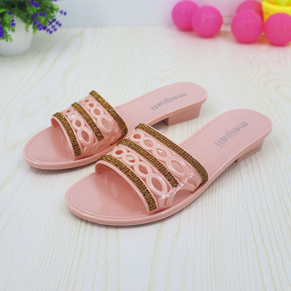 Crystal Mesh Rubber Flat Wear Sandals - Pink