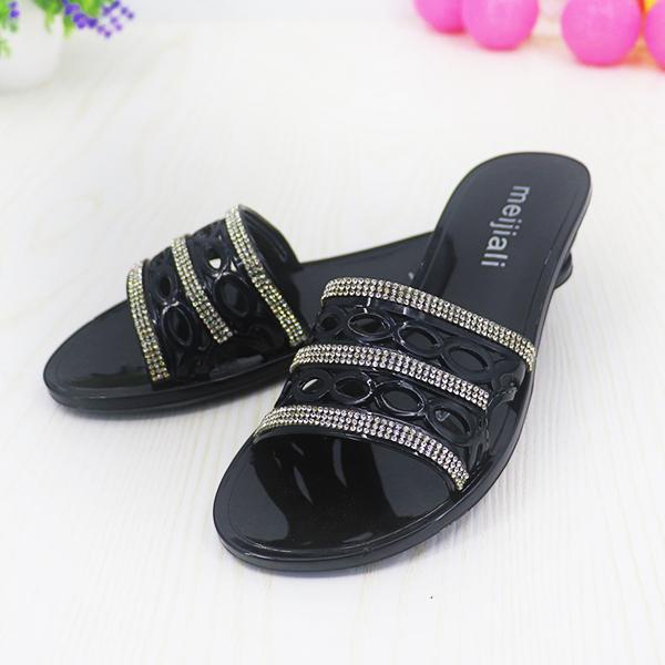 Crystal Mesh Rubber Flat Wear Sandals - Black