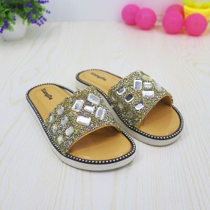 Sequins Party Flat Wear Decorated Sandals - White