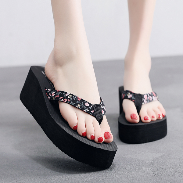 Floral Print Strapped Flip Flop Thick Sole Slippers