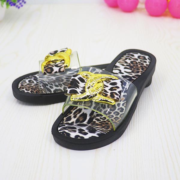 Leopard Prints Transparent Buckle Flat Sandals