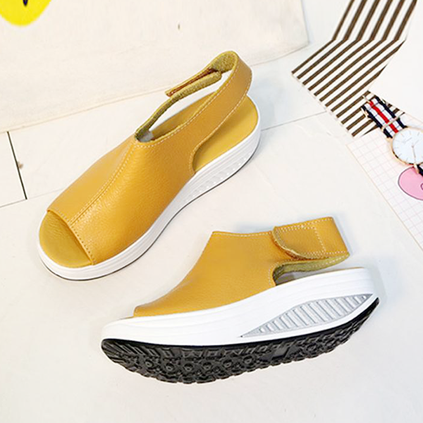 Fish Mouth Heavy Bottom Strap Sandals - Yellow