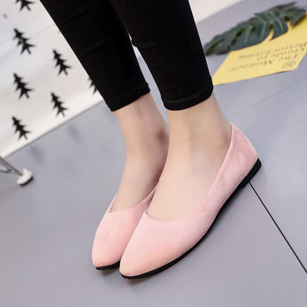 Suede Shallow Mouth Formal Flat Shoes - Pink