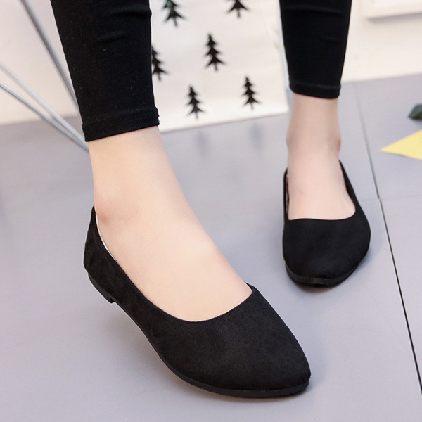 Suede Shallow Mouth Formal Flat Shoes - Black