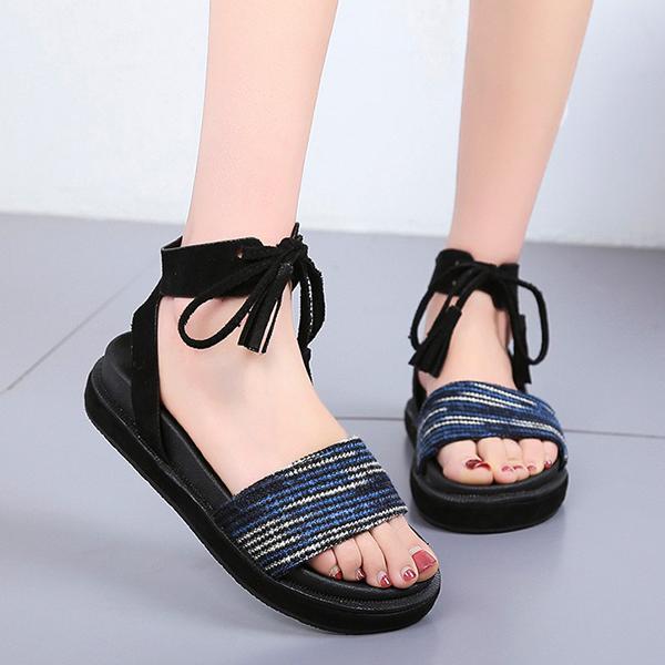 Flat Sole Colorful String Closure Sandals - Blue