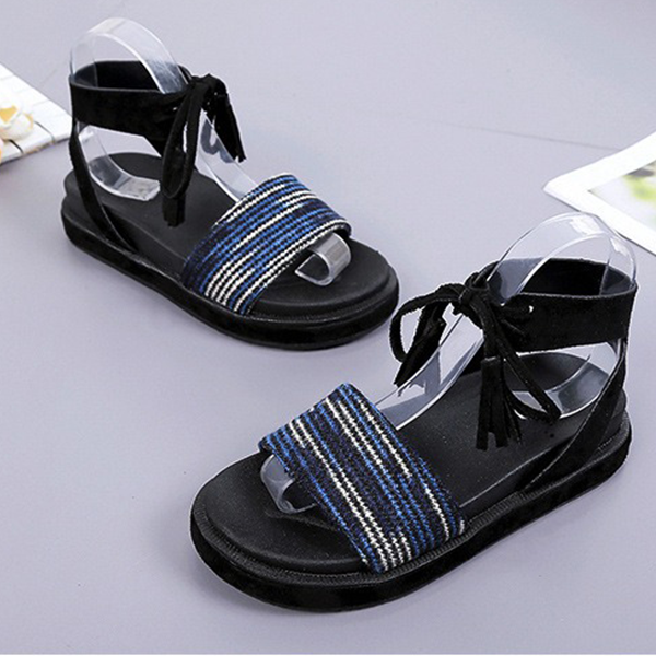 Flat Sole Colorful String Closure Sandals - Blue