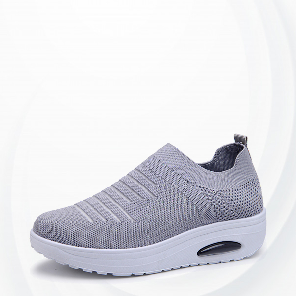Elastic Socks Mouth Flying Woven Comfortable Shoe - Gray