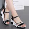 New Female Casual Elegant Black PU Leather Sandals