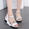 New Female Casual Elegant White PU Leather Sandals