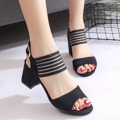 High Heels Comfortable Lace Black Sandals