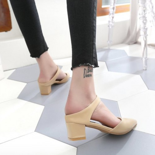 Strap Pointed PU Leather Formal Shoes - Apricot