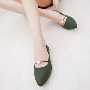 Pearl Decorated Green Pointed Formal Sandals