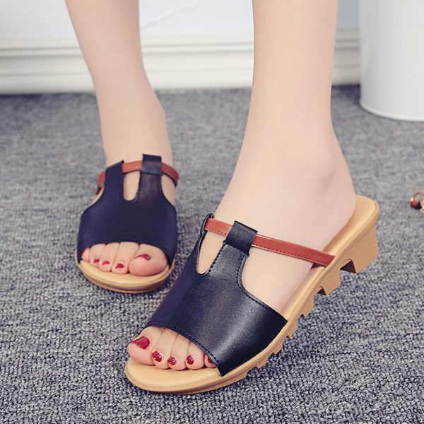 PU Leather Flat Sole Formal Wear Sandals - Black