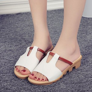 PU Leather Flat Sole Formal Wear Sandals - White