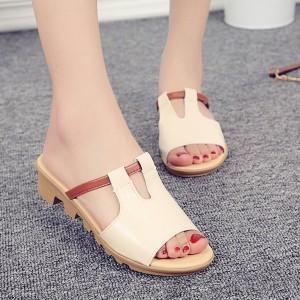 PU Leather Flat Sole Formal Wear Sandals - Beige