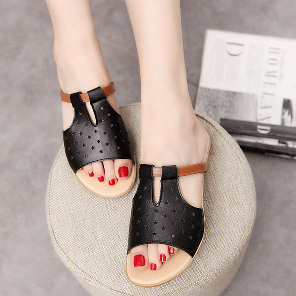 Hollow Stars Party Wear Summer Sandals - Black