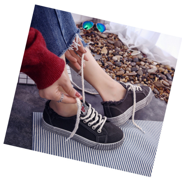 Korean Fashion Canvas Ladies Wild Sneakers Grey