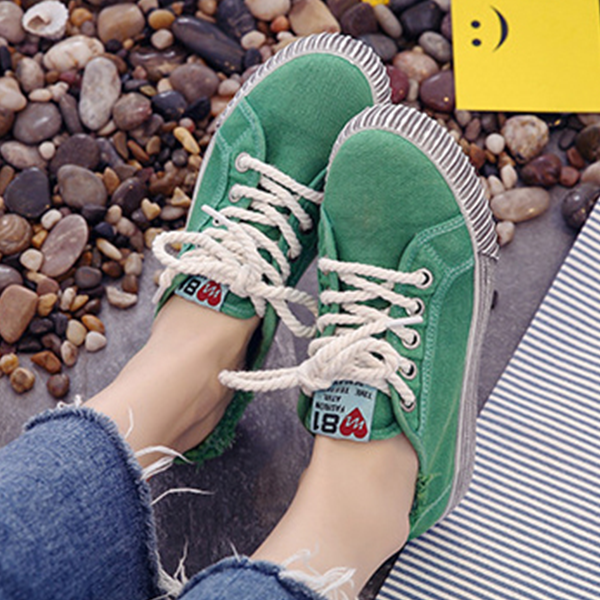 Korean Fashion Canvas Ladies Wild Sneakers Green