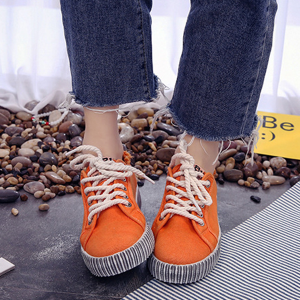 Korean Fashion Canvas Ladies Wild Sneakers Orange