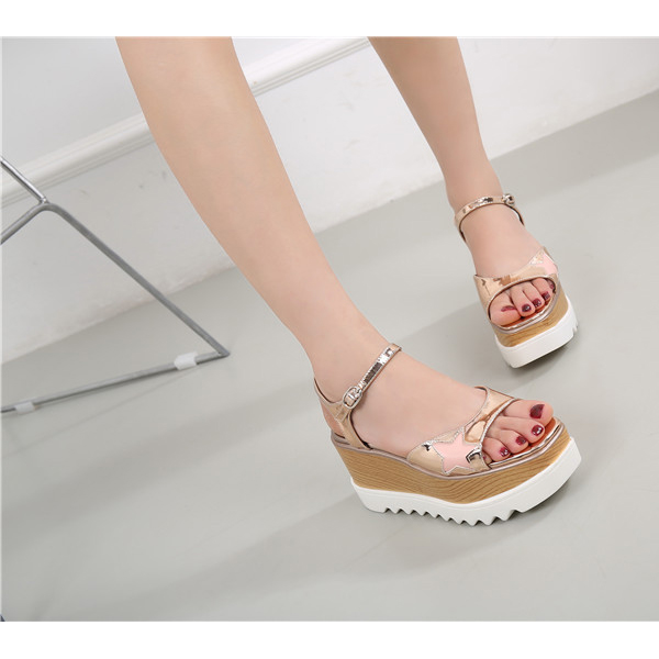 Thick Bottom New Arrival Casual Fish Mouth Sandals Golden