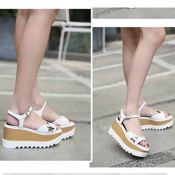 Thick Bottom New Arrival Casual Fish Mouth Sandals White