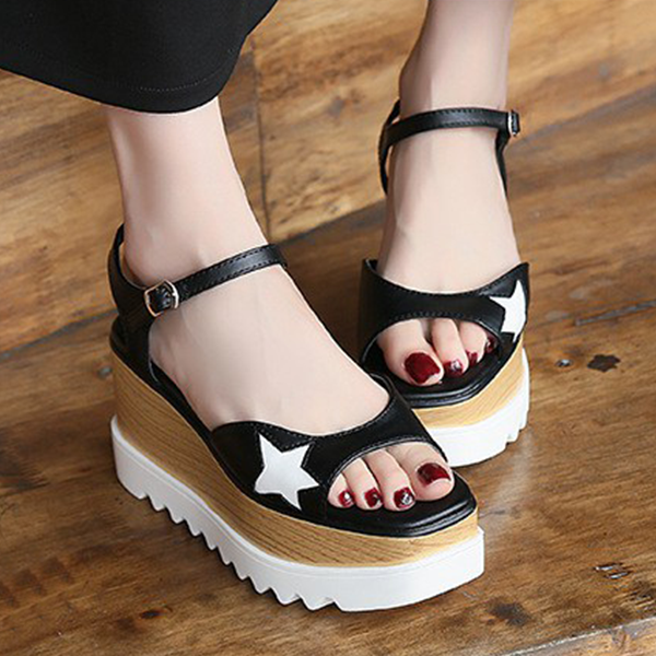 Thick Bottom New Arrival Casual Fish Mouth Sandals Black