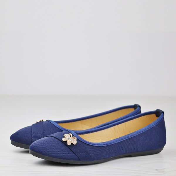 Crystal Canvas Flat Party Wear Shoes - Blue