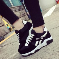 Contrast Rubber Sole Sports Wear Sneakers - Black