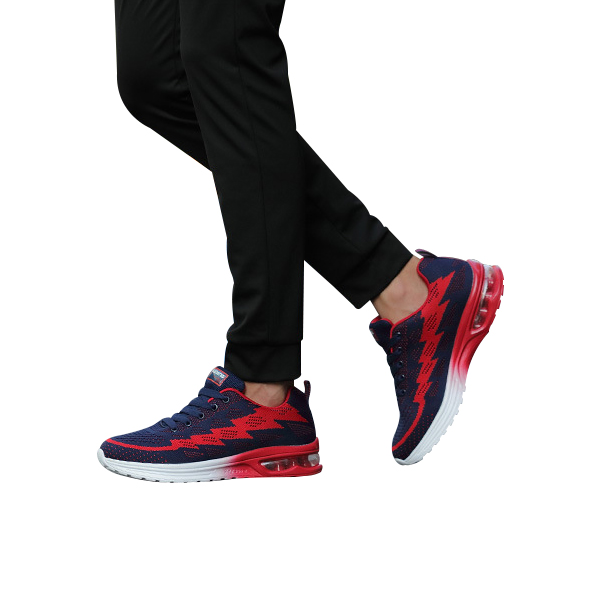 Running Shoes For Men Air Cushion Breathable Red Sneakers