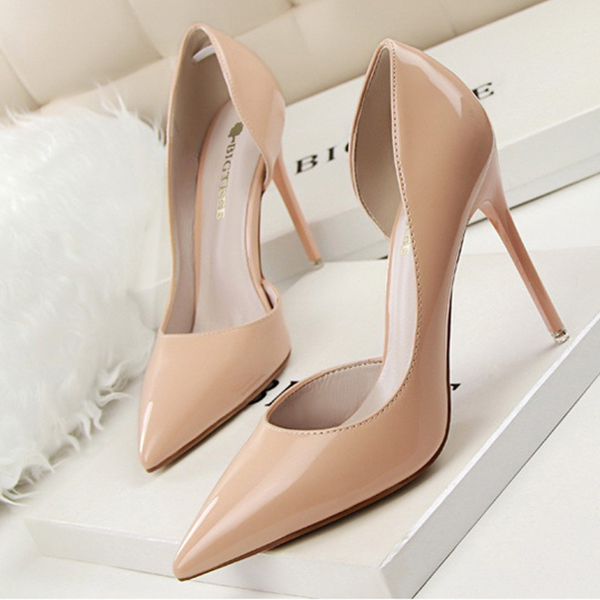 Pointed High Heel Party Wear Shoes - Beige