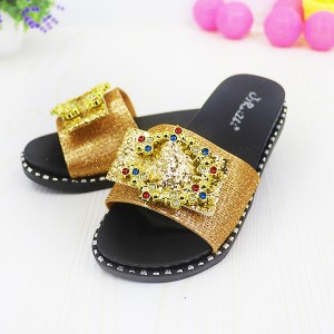 Rhinestones Decorated Mesh Flat Sandals - Golden