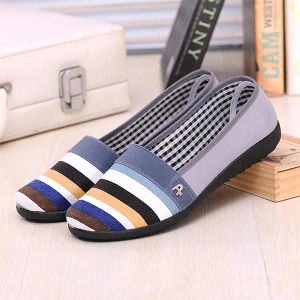 Flat Soft Bottom Office Wear Canvas Shoes - Gray