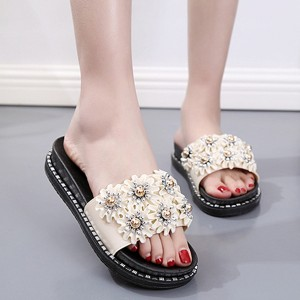 Floral Patch Flat Slip Over Casual Sandals - White