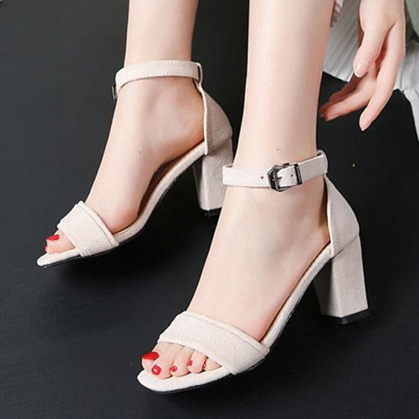 Buckle Closure Suede Material Hig Heels Sandals - White