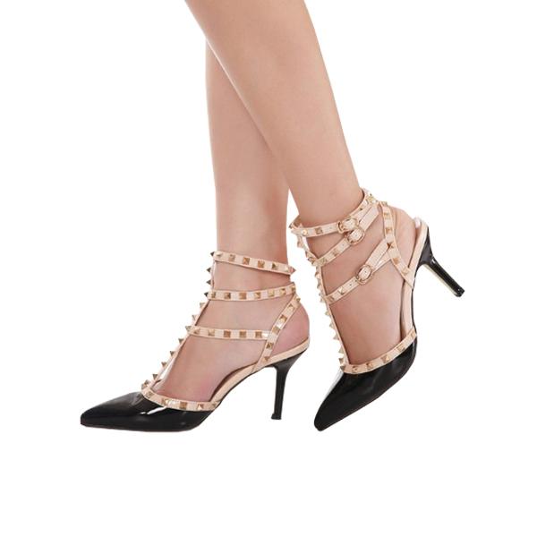Rivet Buckle Spell High Thin Heel Shoes Women Sandals Black