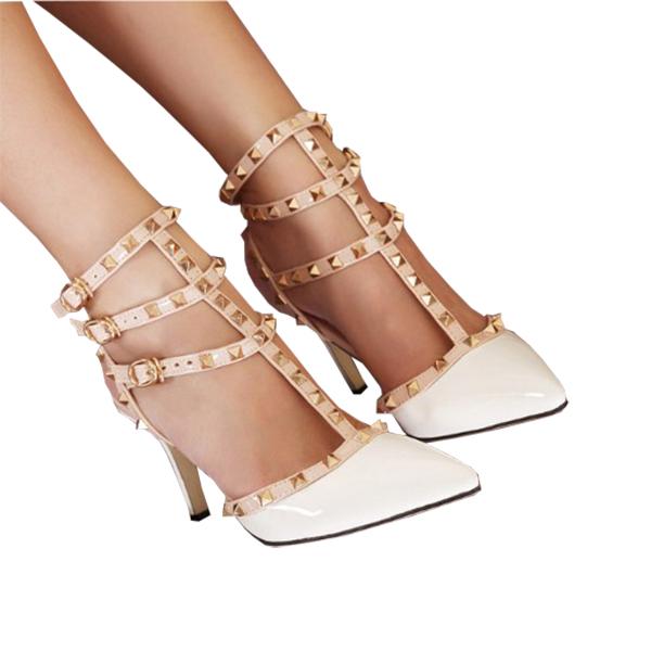 Rivet Buckle Spell High Thin Heel Shoes Women Sandals White