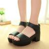 High Heel Bottom Black PU Leather Sandals