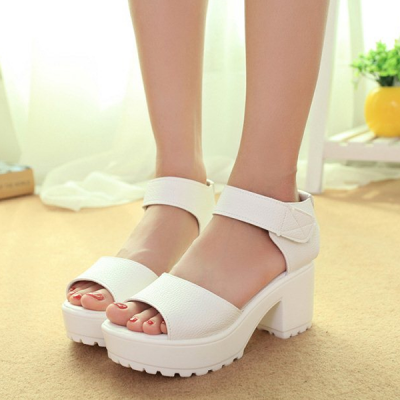High Heel Bottom White PU Leather Sandals