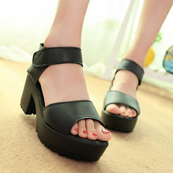 High Heel Bottom Black PU Leather Sandals