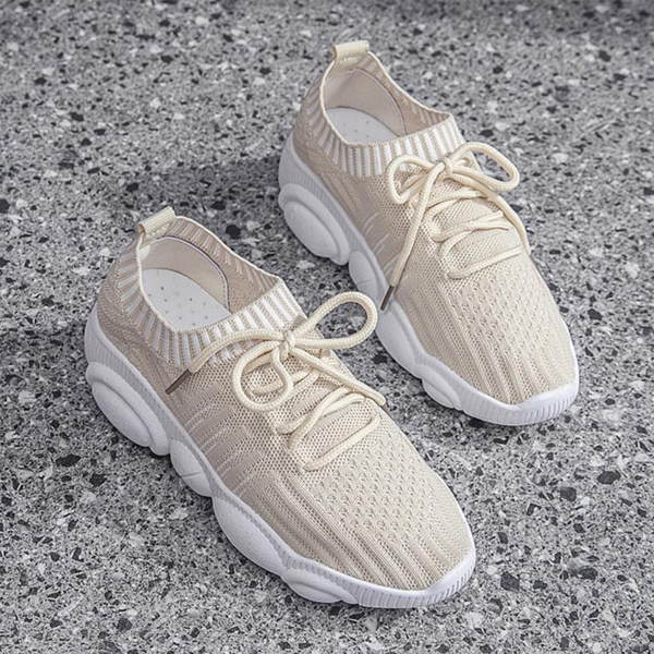 Light Weight Summer Wear Sports Sneakers - Beige