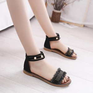 Pearl Decorated Bohemian Zipper Closure Sandals - Black