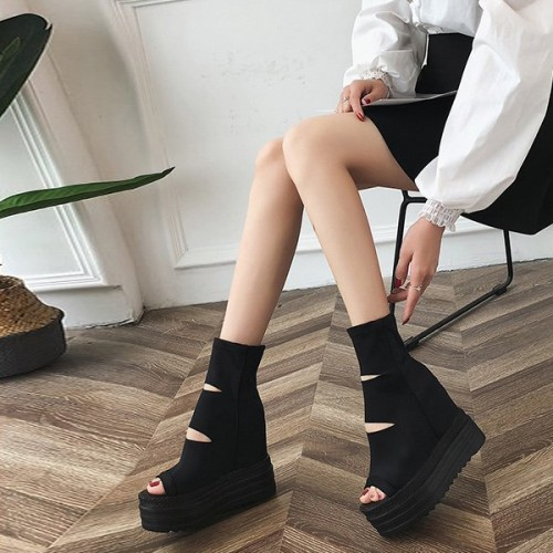 Canvas Breathable Canvas Thick Sole Platform Sandals
