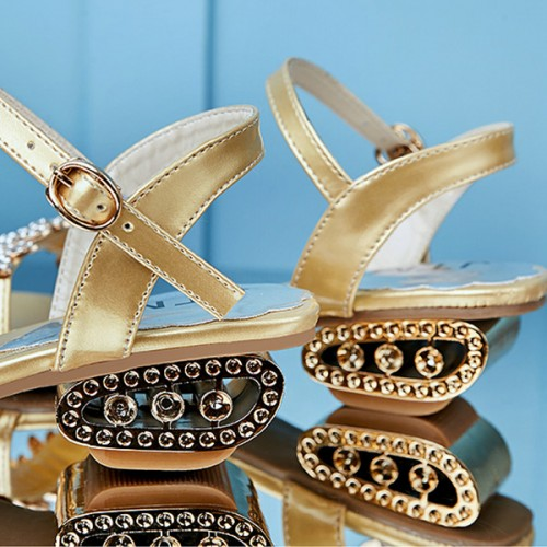 Decorated Crystals Golden Strappy Party Sandals