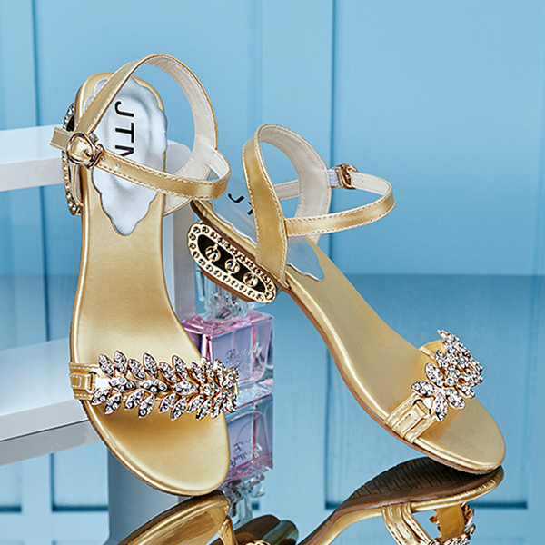 Decorated Crystals Silver Strappy Party Sandals