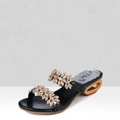 Floral Crystal Decorated Black Party Sandals
