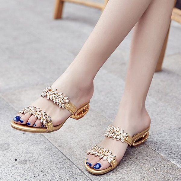 Floral Crystal Decorated Golden Party Sandals