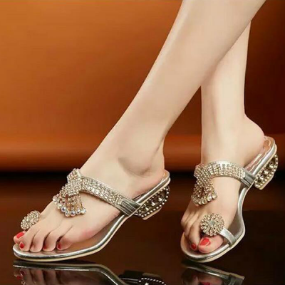Luxury Golden Crystal Engraved Party Sandals